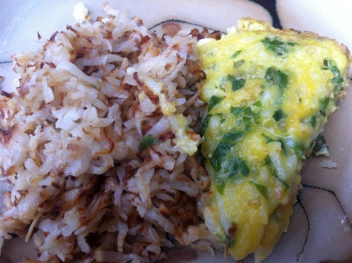 A picture of swiss chard frittata and turnip hash browns