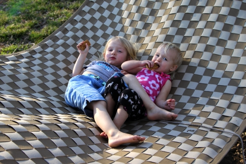 Girls lounging on the hammock